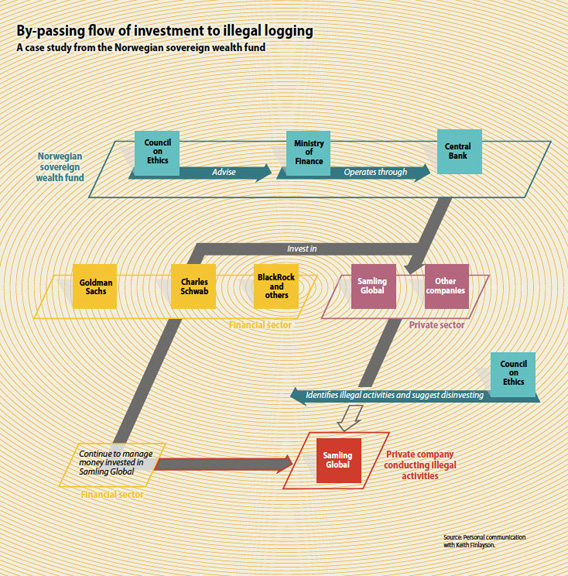 By-passing flow of investment to illegal logging