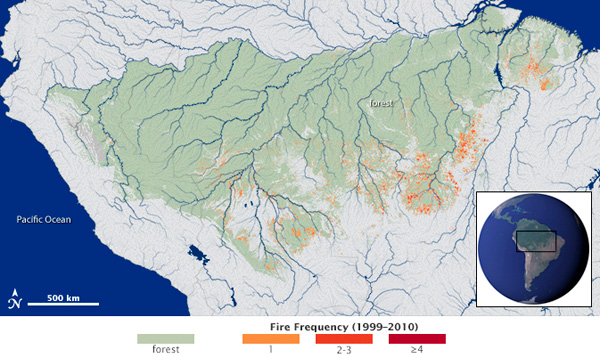 Previous studies mapped the extent and frequency of understory fires across a study area (green) spanning 1.2 million square miles (3 million square kilometers) in the southern Amazon forest. Fires were widespread across the forest frontier during the study period from 1999-2010. Recurrent fires, however, are concentrated in areas favored by the confluence of climate conditions suitable for burning and ignition sources from humans. Photo credit: NASA's Earth Observatory.