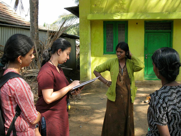 Author Krithi Karanth interviewing local residents for the study.
