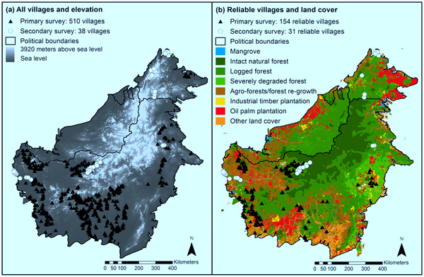 Location and geographic context of villages sampled in primary and secondary surveys in Indonesian and Malaysian Borneo.