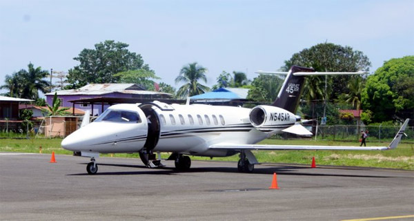 The private jet at Isla Colón International Airport, Panama which was meant to take the sloths abroad.
