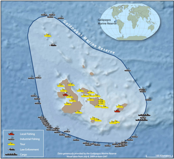 Galapagos Island Marine Reserve: the highest intensity of fishing occurs right at reserve borders, indicating that fishers expected greater abundance there. (Map courtesy of the Galapagos National Park Service)