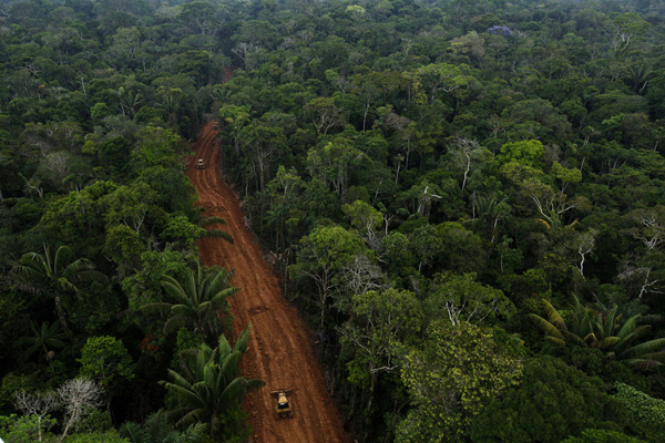 Secret Petroamazonas road in the Amazon rainforest