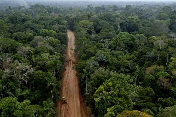 Oil extraction road in the Ecuadorian Amazon