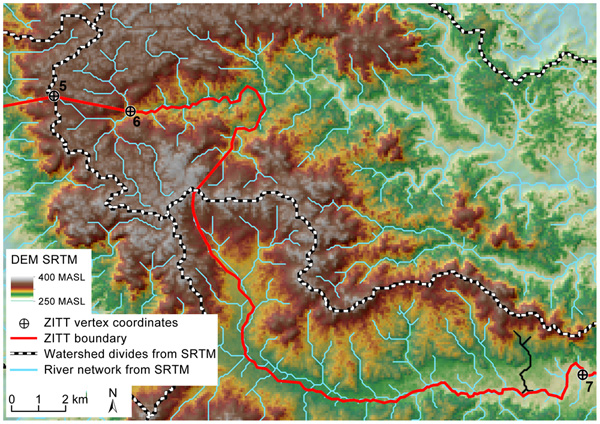 Ecuador: A Digital Elevation Model of a portion of the zona intangible boundaries reveals a section that jumps from one watershed to the next.