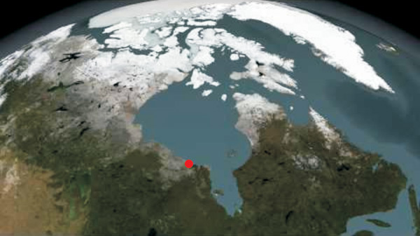 View of Hudson Bay from space. Red dot indicates location of study region. Image courtesy of NASA/Goddard Space Flight Center Scientific.