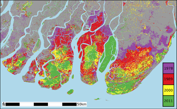 Map showing mangrove land cover in the Ayeyarwady Delta, Myanmar, in 1978, 1989, 2000 and 2011. The large island that has remained completely forested is the Meinmahla Kyun Wildlife Sanctuary.