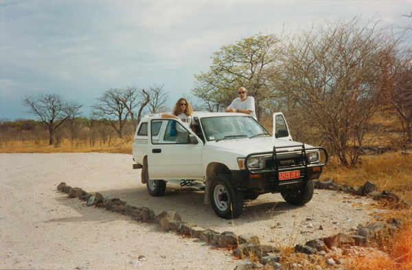 Tara Waters Lumpkin and her husband, Phillip Gibbs, in a bakkie or pick-up truck in Namibia in 1993.
