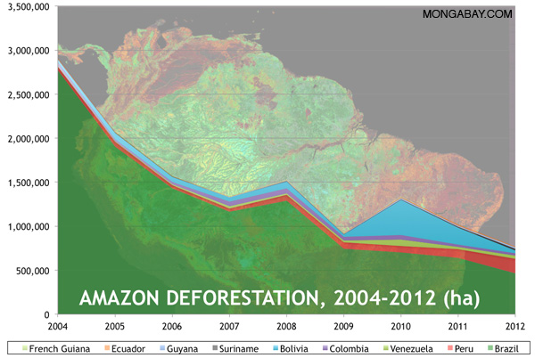Chart showing Amazon deforestation between 2004 and 2012