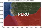 Chart showing annual deforestation in Peru's Amazon rainforest territory between 2004 and 2012