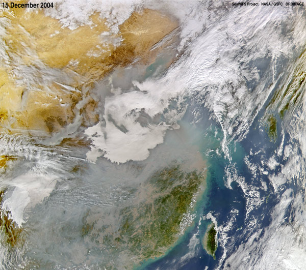 NASA image showing air pollution over China