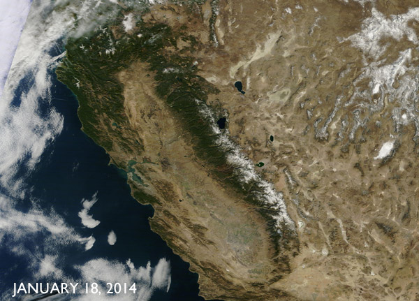NASA photo of California drought in 2014