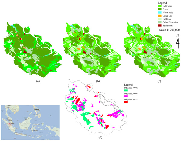 Study area and oil palm development in Riau