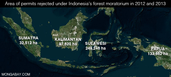 Area of permits denied under Indonesia's forest moratorium.