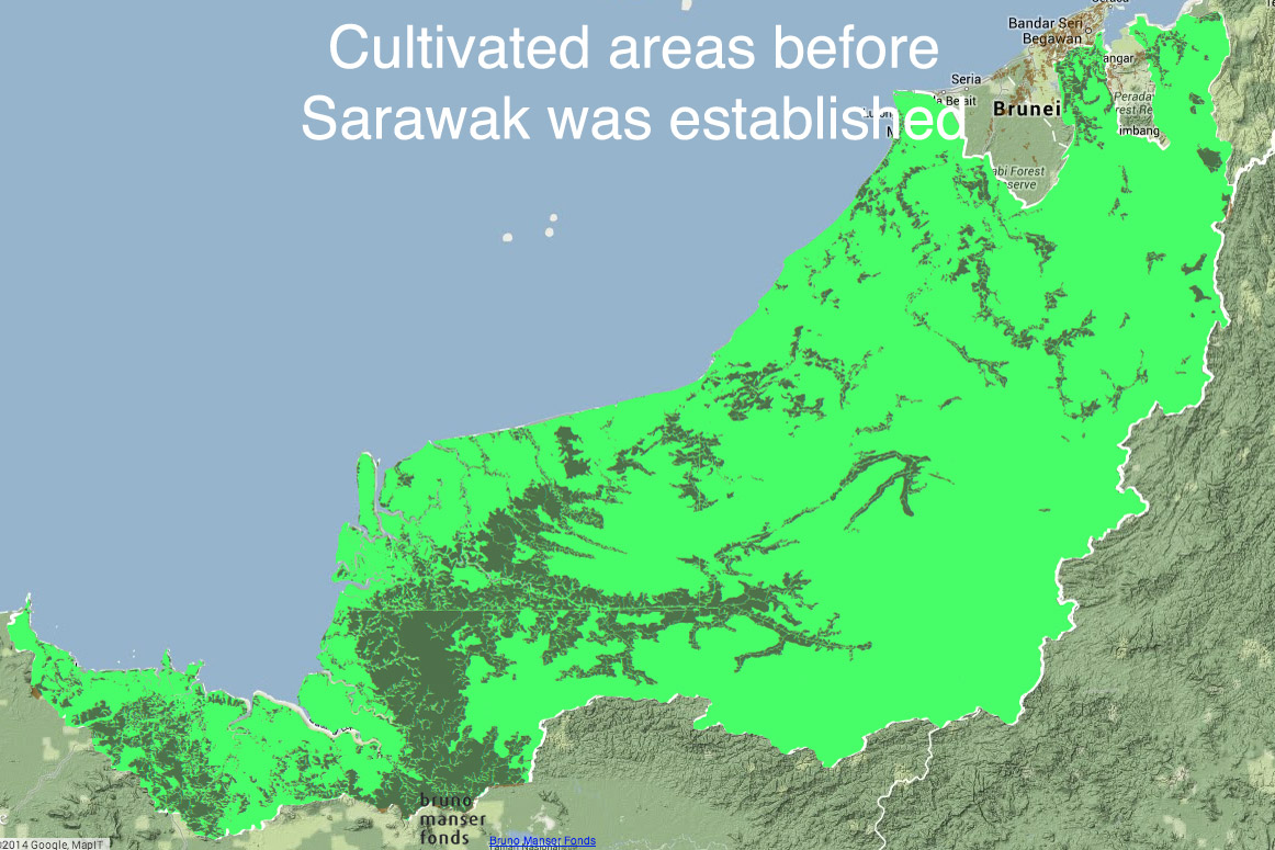 Map showing areas cultivated in Sarawak before it became part of Malaysia