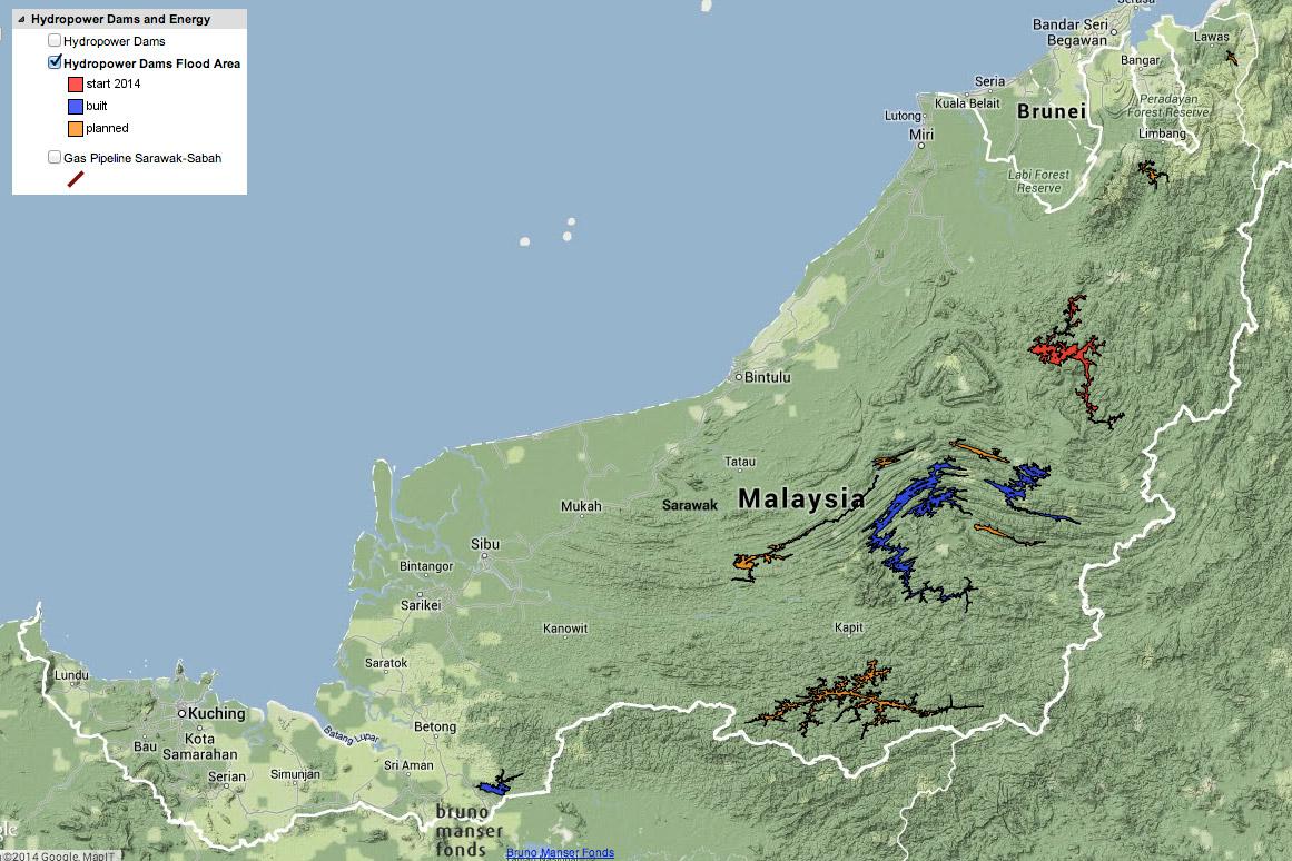 Map: dams in Sarawak