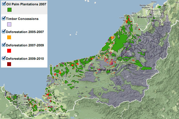 Map showing Land use in Sarawak