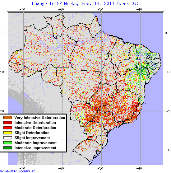 Brazil - Change in Moderate-to-Exceptional Drought