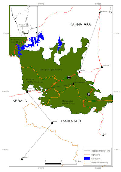Approximate route of the proposed railway line passing through Bandipur and Wayanad preserves. Credit: Nature Conservation Foundation