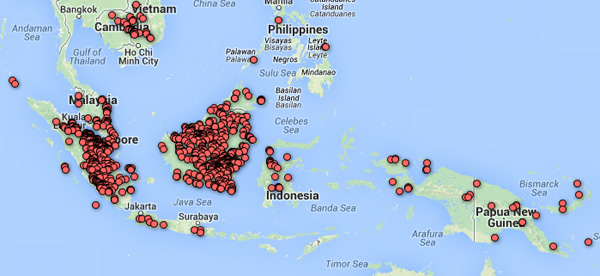 Close-up on GloF-DAS map data for Southeast Asia.