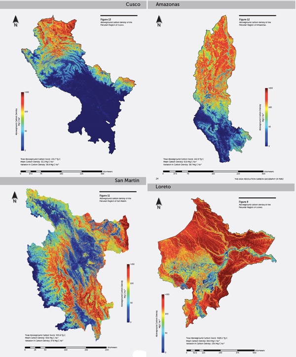 Carbon maps for four regions in Peru