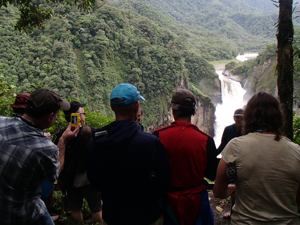 Visitors gather at an overlook to take-in the scenic beauty and awesome power of San Rafael Falls, an iconic feature of the UNESCO Sumaco Biosphere Reserve threatened to be de-watered by the Coca-Codo Sinclair run-of-river hydroelectric project. Photo credit Ecuadorian Rivers Institute.