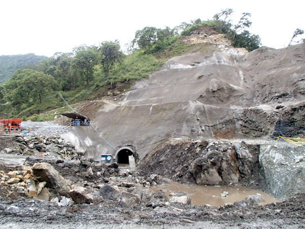 Work is in progress on a diversion tunnel for a run-of-river hydroelectric project in the Upper Napo watershed. Photo credit: Ecuadorian Rivers Institute.