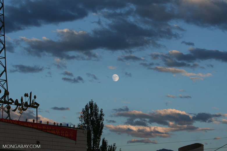 Moon at sunset above Tashkorgan