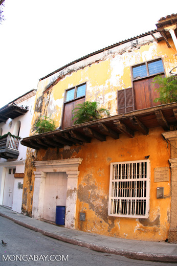 Fisheye view of a colorful building in Old Cartagena