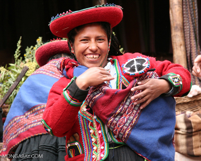 Andean woman in traditional Quencha attire