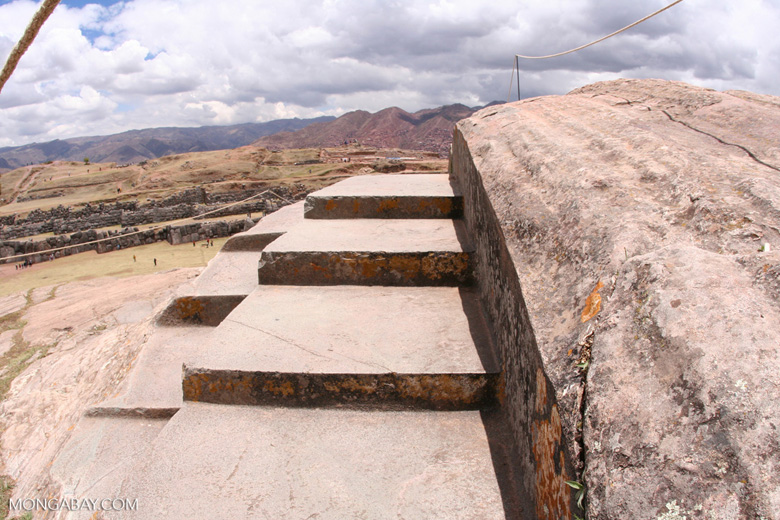 Finely chiseled rock steps at the ruins of Sacsayhuaman outside of Cuzco
