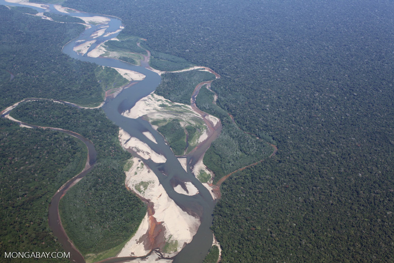 Airplane view of a twisting rainforest river in the Peruvian Amazon