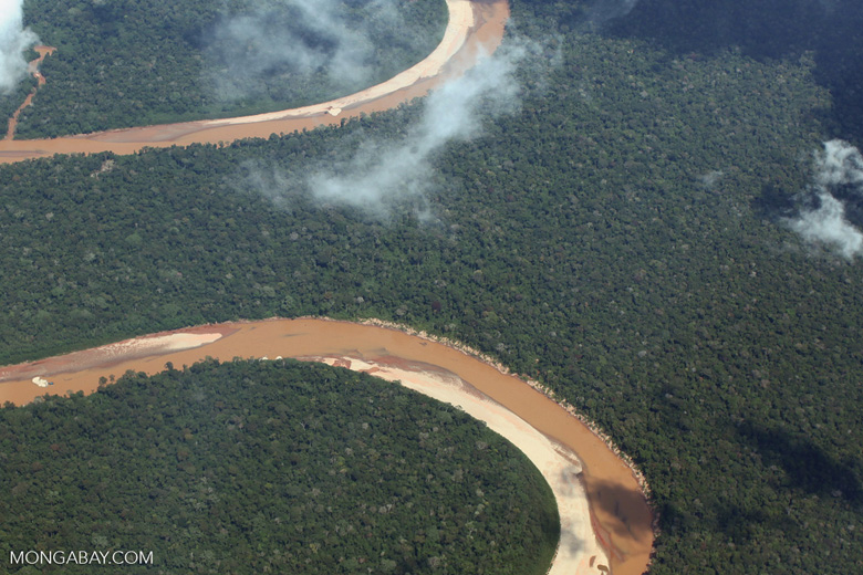 Orange-red river in the Amazon