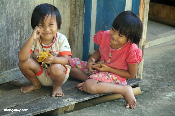 Little Girls On A Porch In Lemo Toraja Land Torajaland Sulawesi