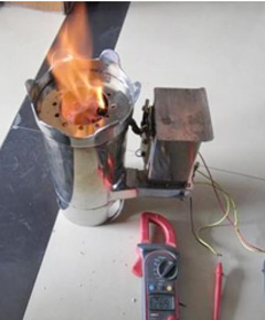 A prototype of UIRI's biochar stove with thermoelectric generator.