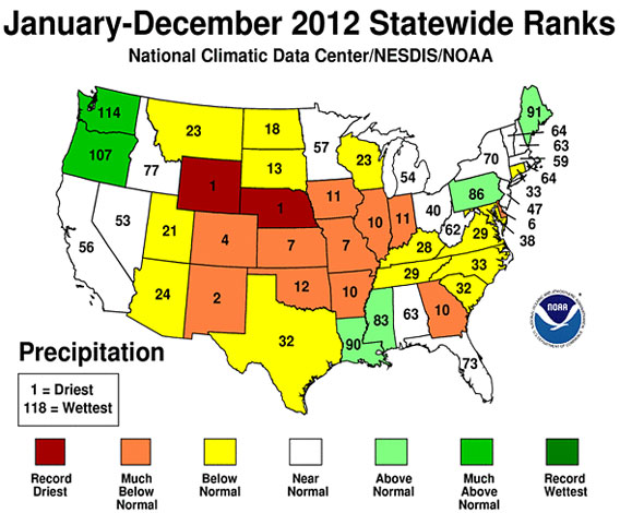 Dry year for the United States. Courtesy of NOAA.