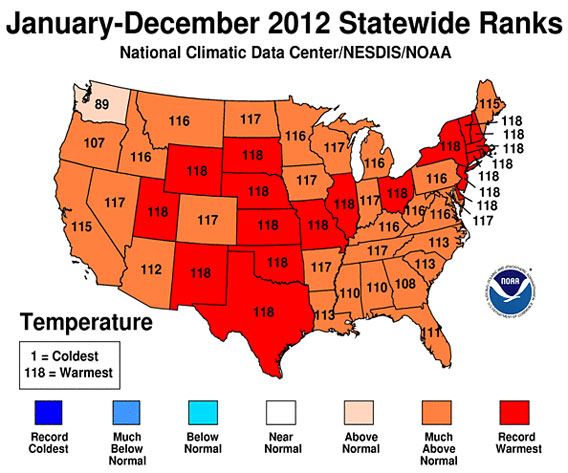 Record temperature for the United States. Courtesy of NOAA.