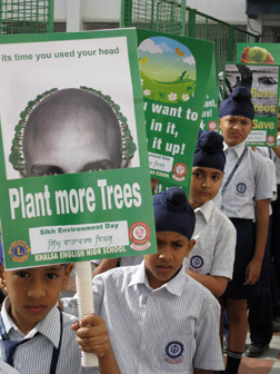 Punjabi school children hold a parade on Sikh Environmental Day