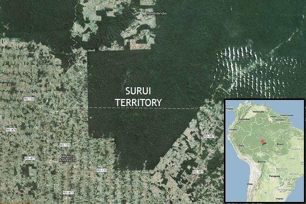 Território indígena Suruí no Brasil. Os Suruí têm trabalhado em estreita colaboração com o Google Earth Outreach para desenvolver meios de mapear e monitorar seu território