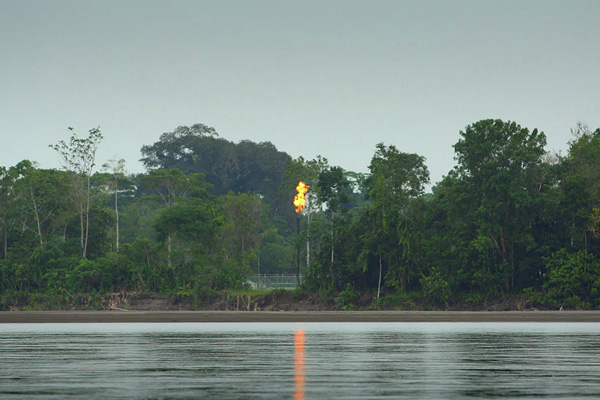 Gas flaring just across the river from Yasuni National Park. Photo by Jeremy Hance.