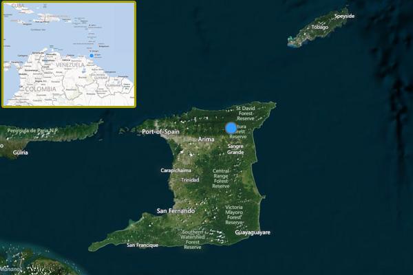 Trinidad and Tobago. Image courtesy of Bing Maps.