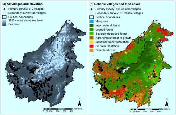Localización y contexto geográfico de las aldeas incluidas en la muestra en las encuestas de primaria y secundaria en Borneo indonesio y malayo.