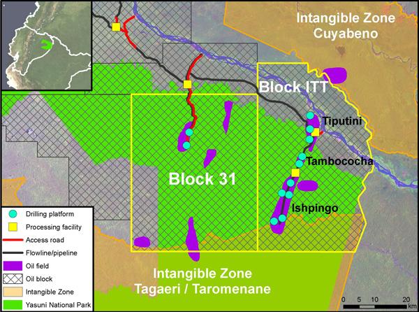 Mapa del subtítulo: plan de desarrollo de ITT según documentos del gobierno y estudios de impacto ambiental.