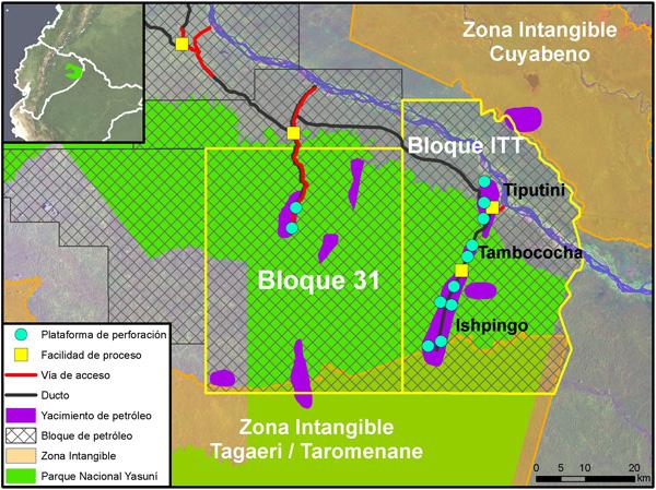 El plan de desarrollo de ITT, según documentos gubernamentales y estudios de impacto ambiental