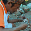 A miner on the Indonesian island of Lombok, examines a rock containing mineralized gold. One bag this of ore weighs 25-40 kilograms and will sell for up to 250 million rupiah. ($25,000). He admits he is concerned about the use of mercury.'We do worry,' he said.'But we worry more about not getting enough to eat.'