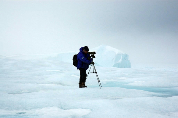 Jon on the search for Narwhals on Baffin Island. Photo courtesy of Jon Hall.
