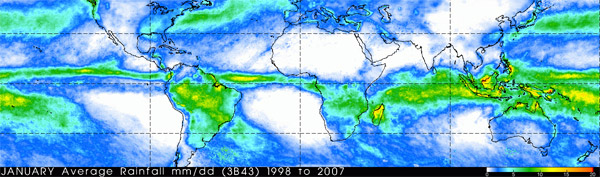 NASA animation showing precipitation concentrated in the tropics in the form of  average daily rainfall rates during the month of January from 1998-2007.