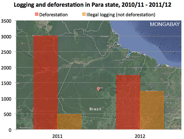 Deforestation and illegal logging in Para.