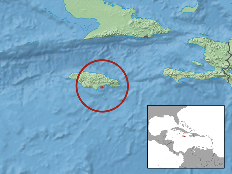 Location of the Jamaican iguana.  Courtesy of the IUCN under a Creative Commons Attribution-Share Alike 3.0 Unported license.