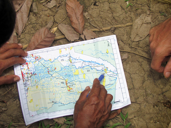 Scientists from Geo Yasuní examine the decreed borders of the zona intangible, a region of Ecuador's Yasuní National Park allocated for uncontacted indigenous groups..